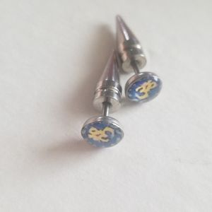 Ohm light blue & yellow and silver stud earrings